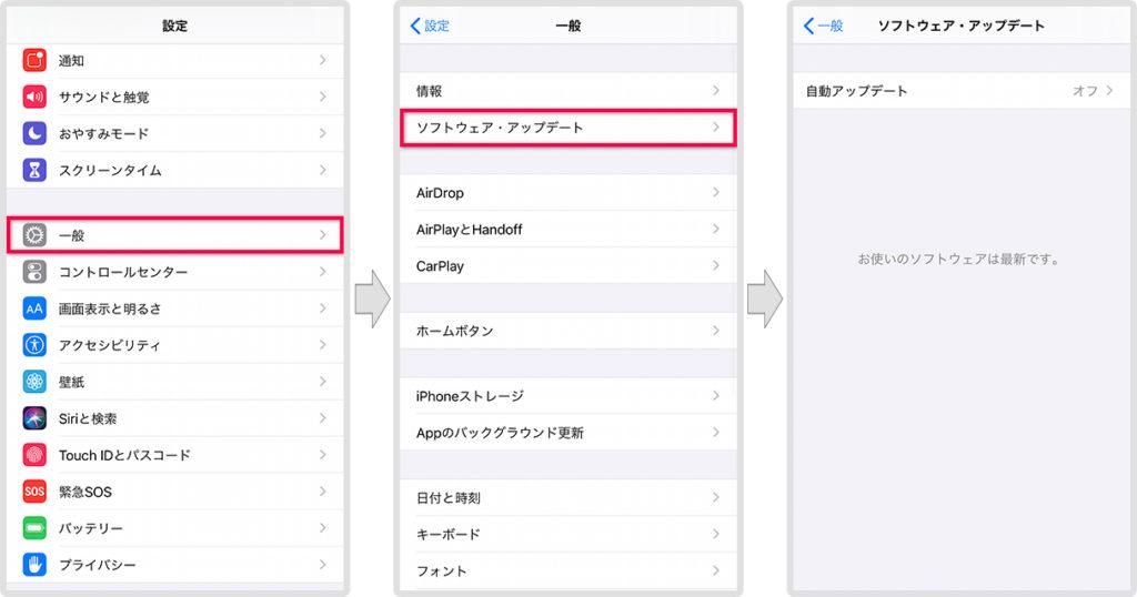 iPhoneのソフトウェアアップデートを確認する