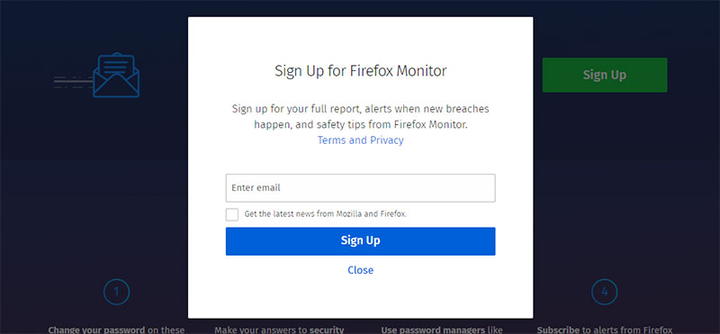 Firefox Monitor - Sign Up