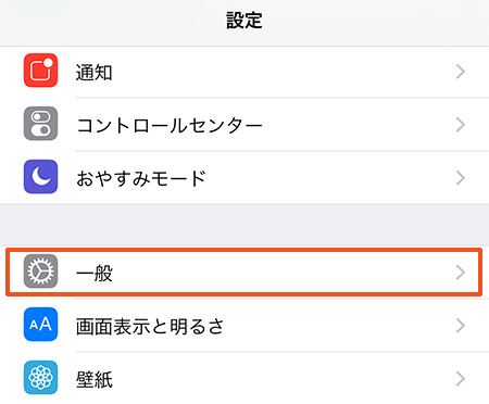 iPhone [設定] > [一般]