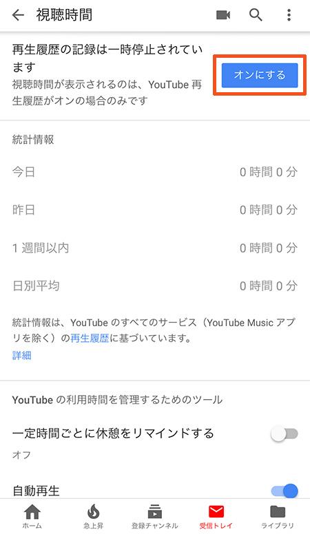 YouTubeアプリで視聴時間を確認する