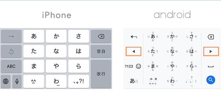 iPhoneとAndroidのキーボード