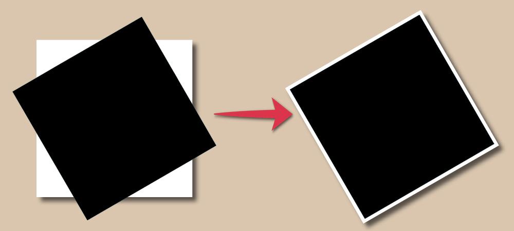 画像に白フチをつけ、回転で比較
