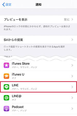 iPhoneの通知設定からLINEを開く