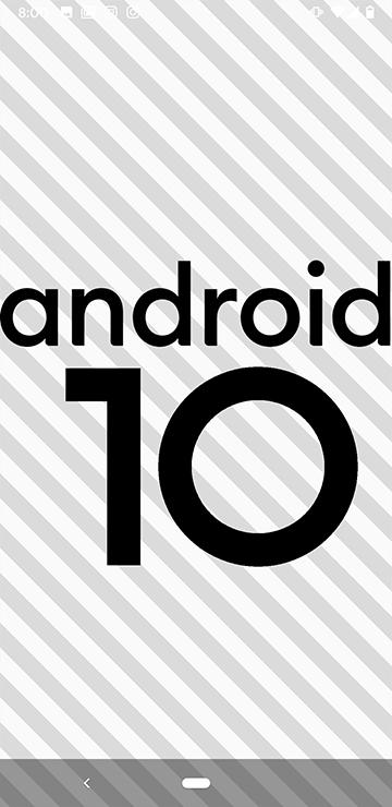 Android10と大きく表示される