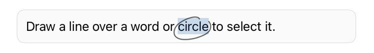 テキストを円で囲んで選択する